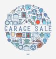 garage sale or flea market concept in circle vector image vector image