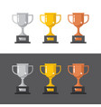 gold silver and bronze winner cups vector image