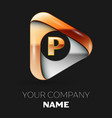 golden letter p logo in golden-silver triangle vector image
