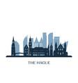 hague skyline monochrome silhouette vector image vector image