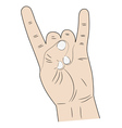 hand index finger and pinky fingers raised up vector image vector image