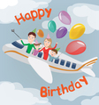 happy birthday card family in plane happy family vector image vector image