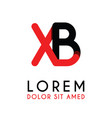 initial letter xb with red black and has rounded vector image vector image