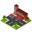 isometric fire station emergency department vector image vector image
