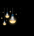 led light bulbs hanging from the ceiling vector image