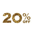 luxury golden glitter twenty percent off special vector image vector image