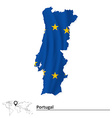 Map of Portugal with European Union flag vector image vector image