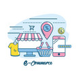 marketing digital to shopping online network vector image vector image