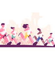 men and women training to marathon in park vector image