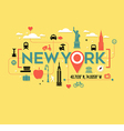 New York City icons and typography design vector image