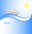 Paper boat in blue waves Blue Background vector image