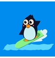 Penguin Surfing vector image