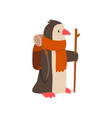penguin travelling with backpack and staff cute vector image vector image