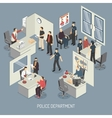 Police Department Isometric Composition vector image vector image