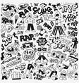 rap music doodle set vector image vector image