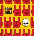 Rock and roll seamless pattern Background of Skull vector image vector image