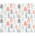 seamless pattern with ornate christmas trees vector image vector image