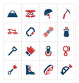 Set color icons of mountaineering vector image