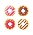 set colorful glazed donuts dessert flat icons vector image vector image