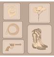 set cowboy items vector image