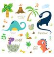set cute dinosaur characters
