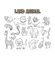 set element doodle line land animal coloring vector image