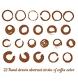 set from 22 hand-drawn abstract brown ink vector image