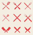set of restaurant knives icons crossed fork vector image