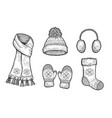 set of winter accessories vector image