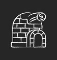 snow fort chalk white icon on black background vector image