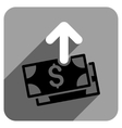 Spend Money Flat Square Icon with Long Shadow vector image vector image