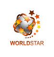 sphere rotate world star logo template vector image vector image