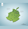 stylized map afghanistan isometric 3d green vector image vector image