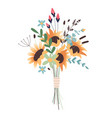 wedding concept flower bouquet bunch flowers vector image vector image