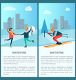 wintertime skaters and skier vector image