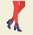 women legs and feet with stylish colorful vector image