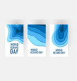 world oceans day concept in paper cut style vector image