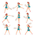 young woman playing tennis set professional vector image vector image