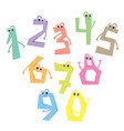 funny numbers cartoon cute characters vector image