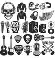 set of the rock music design elements guitar shop vector image