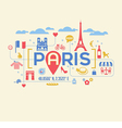 Paris France icons and typography design vector image