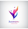 3d men human people logo 4 meeting vector image