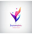 3d men human people logo of 4 meeting vector image vector image