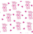 a seamless pattern with pink bear vector image vector image