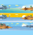 a set of panoramic landscapes of asia vector image vector image