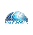 abstract three dimensional half world globe logo vector image vector image