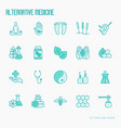 alternative medicine thin line icons set vector image vector image