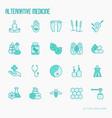 alternative medicine thin line icons set