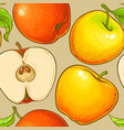 apple fruit pattern on color background vector image