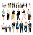 bank business service queue people vector image vector image